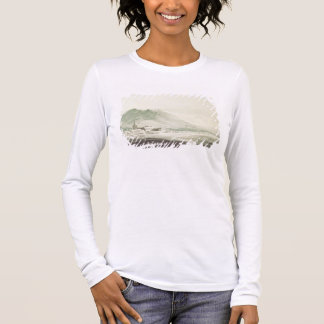 A monastery in an alpine valley (grey & blue washe long sleeve T-Shirt