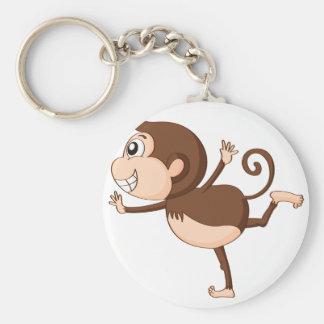 a monkey basic round button key ring