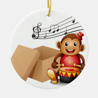 A monkey playing with musical notes and an empty b Double-Sided ceramic round christmas ornament