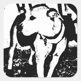 A monochromatic mixed breed Pitbull puppy dog Sticker