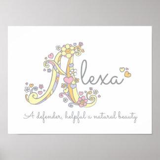 A monogram art Alexa girls name meaning poster