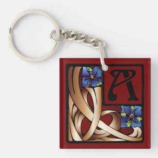 """""""A"""" Monogram Art Nouveau Square Key Chain #1"""