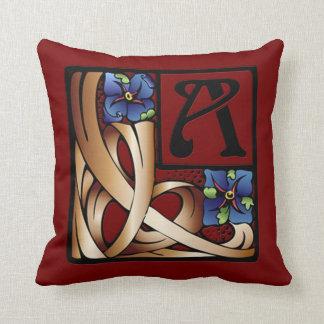 """""""A"""" Monogram Art Nouveau Square Pillow #1"""