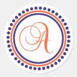 A Monogram (Blue / Orange Dot Circle) Sticker