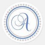 A Monogram (Blue / Silver Dot Circle) Sticker
