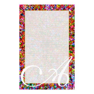 """A Monogram """"Colorful Bubbles"""" Fine Lined Customized Stationery"""