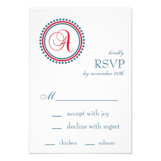 A Monogram Dot Circle RSVP Cards Red Blue