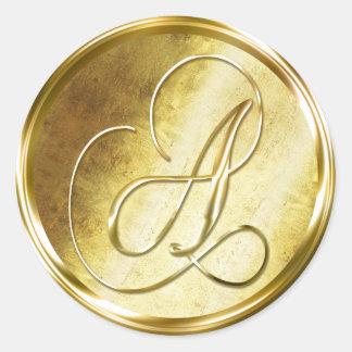 A Monogram Faux Gold Envelope Seal Stickers