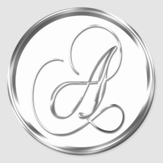 A Monogram Faux Silver Envelope Or Favor Seal Round Sticker
