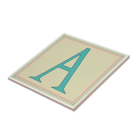 A-MONOGRAM LETTER SMALL SQUARE TILE