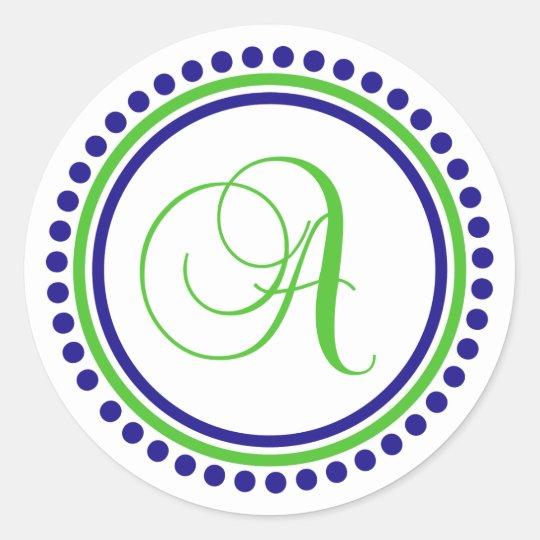 A Monogram (Navy Blue / Lime Green Dot Circle) Classic Round Sticker