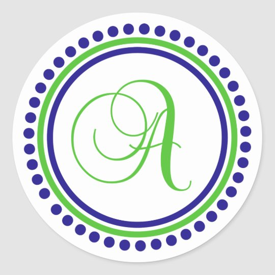 A Monogram (Navy Blue / Lime Green Dot Circle) Round Sticker