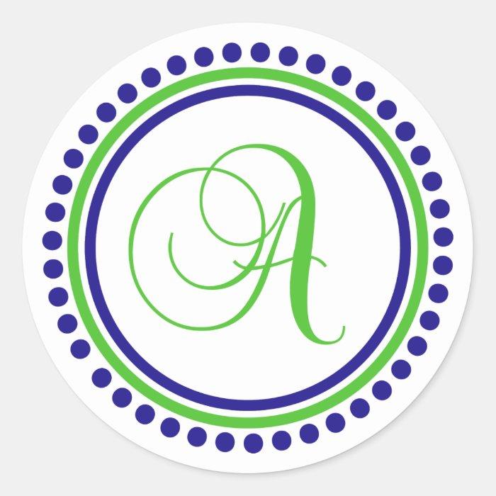 A Monogram (Navy Blue / Lime Green Dot Circle) Round Sticker