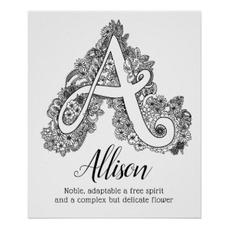 A monogram tangle art Allison name meaning Poster