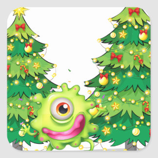 A monster dancing in front of the christmas trees square sticker
