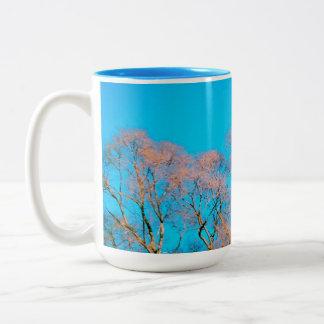 A moon over cottonwoods Two-Tone coffee mug