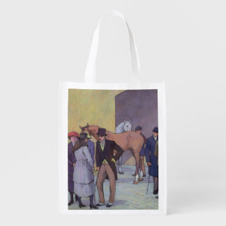 A Morning at Tattersall's (oil on canvas) Grocery Bag