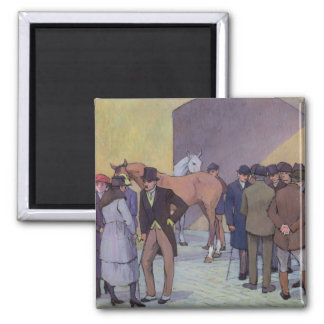 A Morning at Tattersall's (oil on canvas) Square Magnet