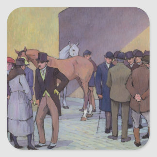 A Morning at Tattersall's (oil on canvas) Square Sticker