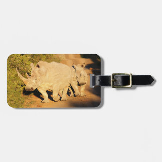 A Mother and Calf White Rhino in South Africa Luggage Tag