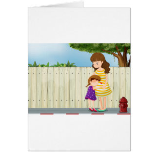A mother and her daughter near the fence at the ro greeting card