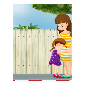 A mother and her daughter near the fence at the ro postcard