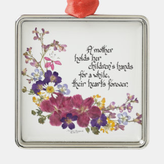 A Mother holds a child's heart Silver-Colored Square Decoration