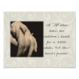 A Mother Holds Her Children's Hands Photograph