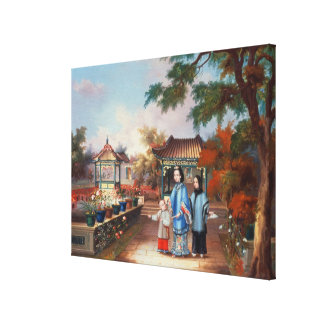 A mother with her children in a chinese garden, c. canvas print