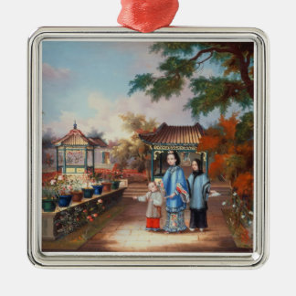 A mother with her children in a chinese garden, c. christmas ornament