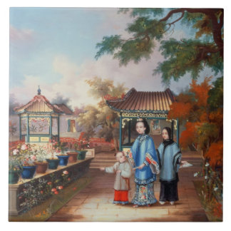 A mother with her children in a chinese garden, c. tile