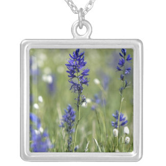 A mountain meadow of wildflowers including square pendant necklace