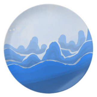 A mountain so blue dinner plate
