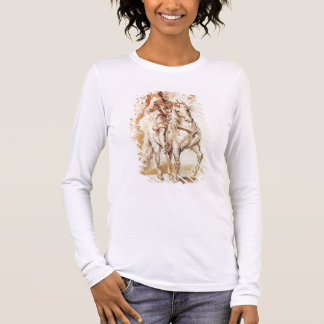 A Mounted Knight in Armour (pen and ink on paper) Long Sleeve T-Shirt