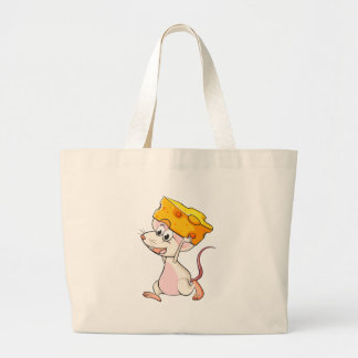 A mouse and a cheese jumbo tote bag