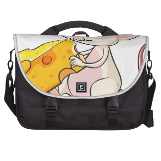 A mouse eating cheese laptop messenger bag