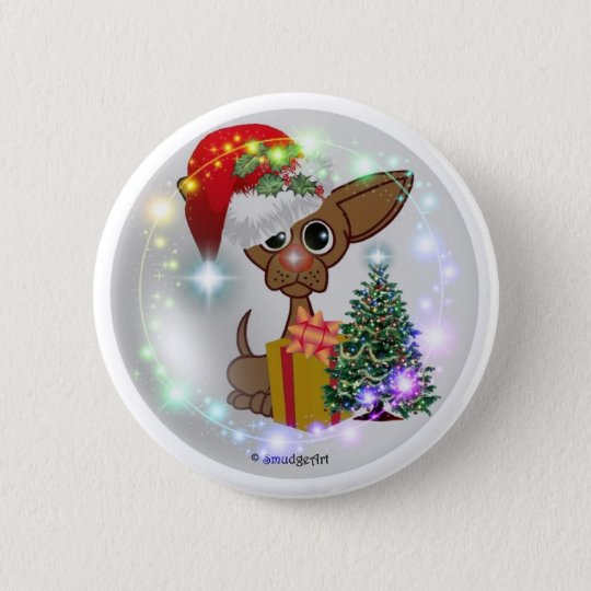 A Mousy Dog Christmas 6 Cm Round Badge