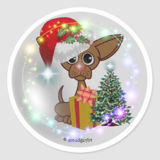 A Mousy Dog Christmas Round Stickers