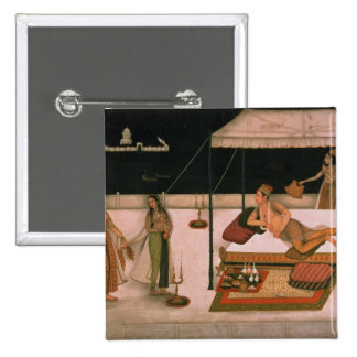 A Mughal prince receiving a lady at night 15 Cm Square Badge
