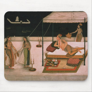 A Mughal prince receiving a lady at night Mouse Mat