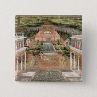 A Mughal Princess in her Garden (gouache on paper) 15 Cm Square Badge