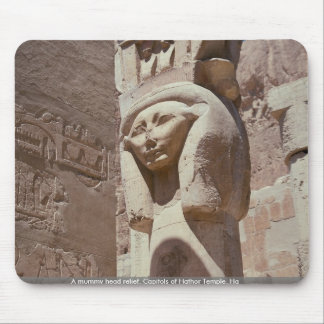 A mummy head relief, Capitols of Hathor Temple, Ha Mouse Mat