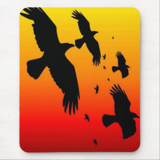 A Murder of Crows Against A Haunting Sunset Mouse Mat