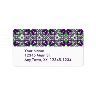 A Murder Of Crows Kaleidoscope Square Purple Address Label