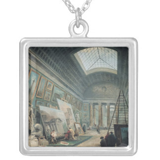 A Museum Gallery with Ancient Roman Art Silver Plated Necklace