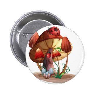 A mushroom with a ladybug 6 cm round badge