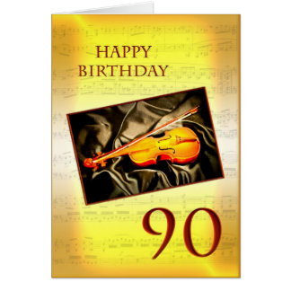 A musical 90th birthday card with a violin