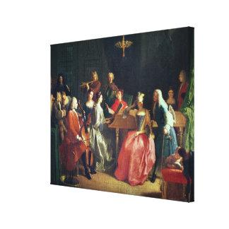 A Musical Evening (oil on canvas) Canvas Print