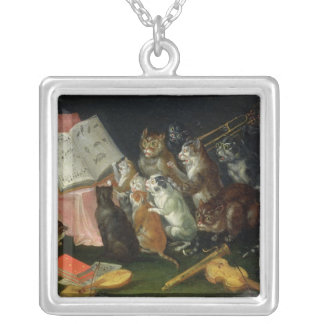A Musical Gathering of Cats Silver Plated Necklace