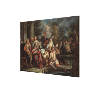 A Musical Interlude on a Patio (pair with 59639) Canvas Print